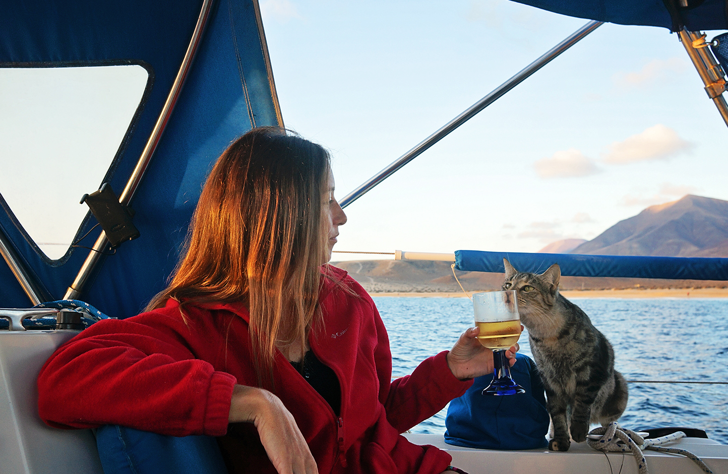Georgie Boat Cat and Jessica Enjoy Beverages