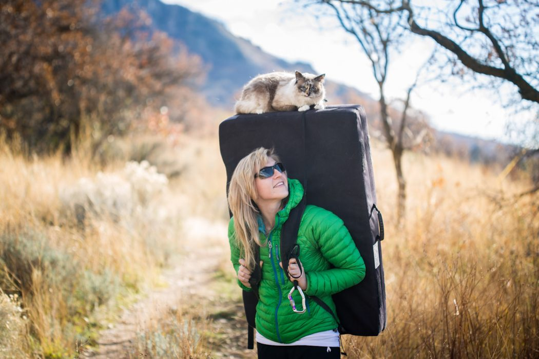 Lacy Taylor and her cat Zhiro on a hike