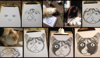Liz Cox drawing cat