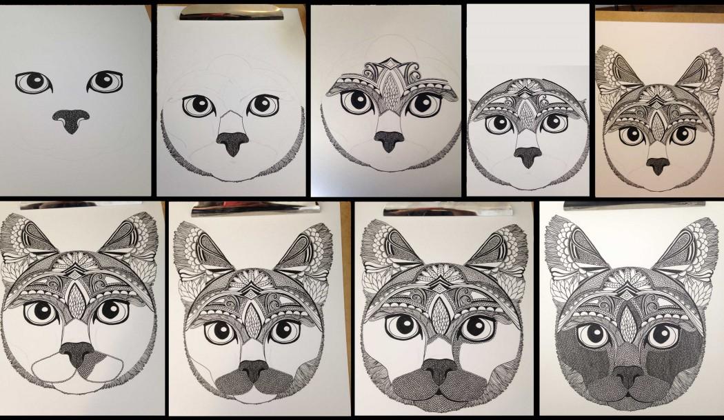 how Liz Cox illustrates cats
