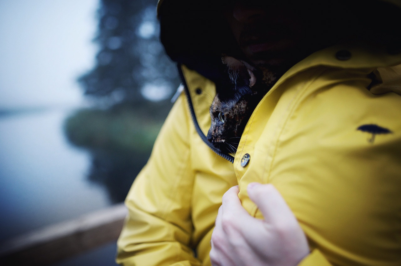 cat tucked into rain coat