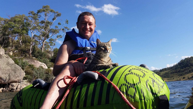 Yoshi the tubing cat