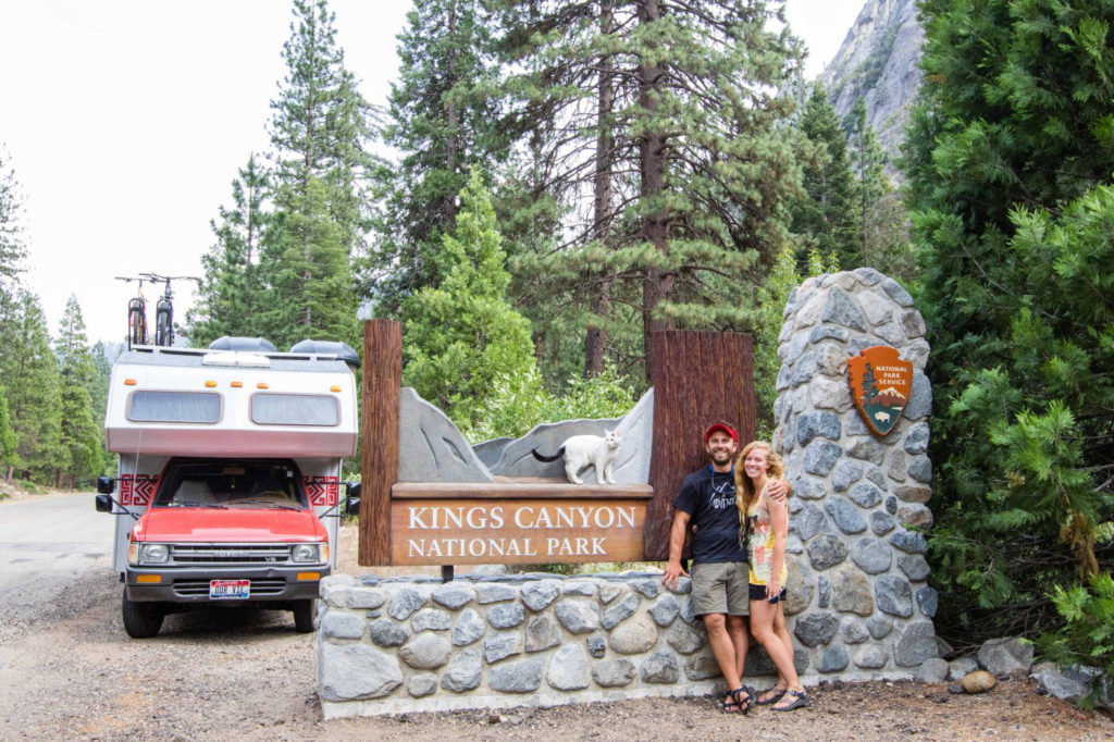 couple and cat at Kings Canyon national park