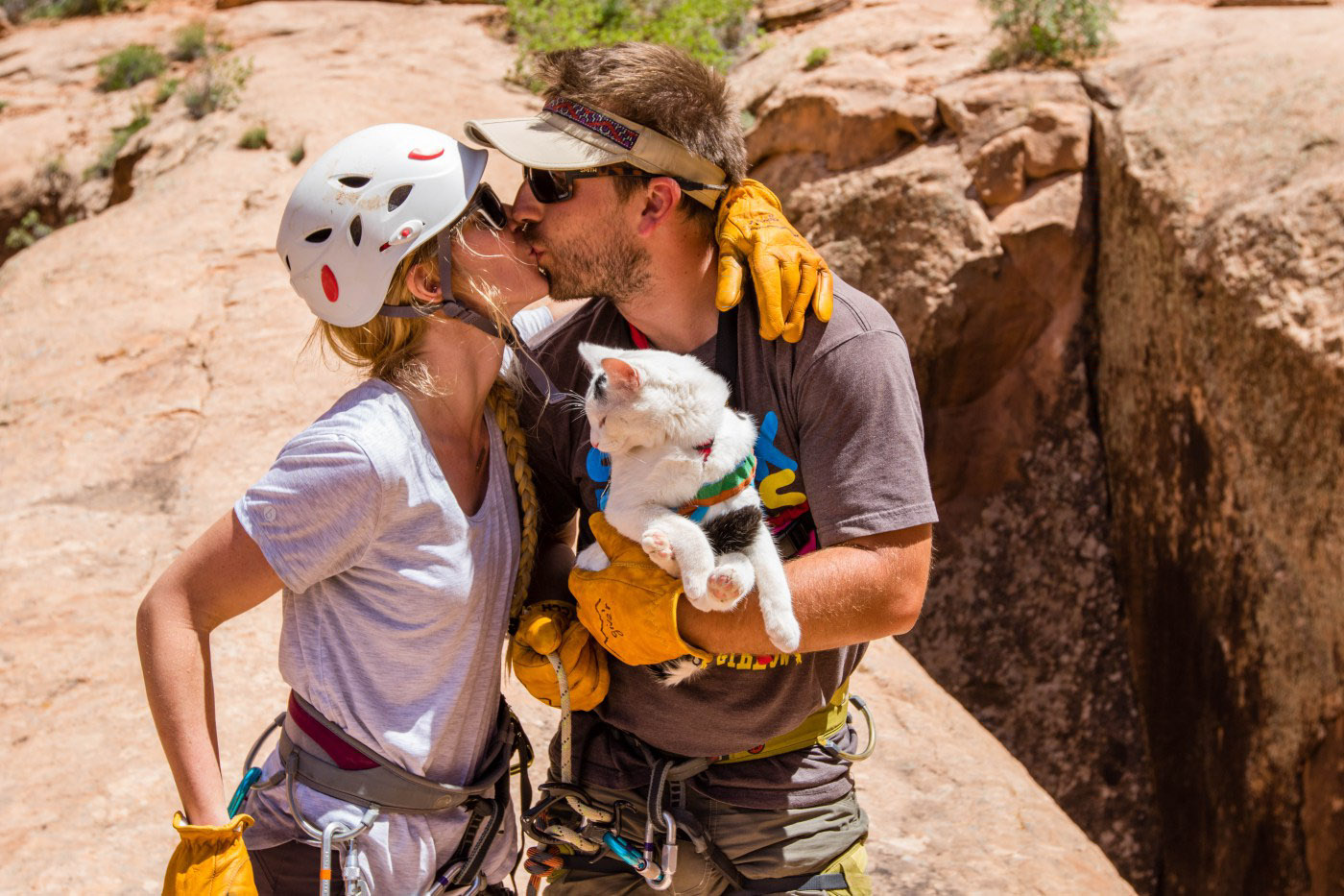 couple kissing with adventure cat