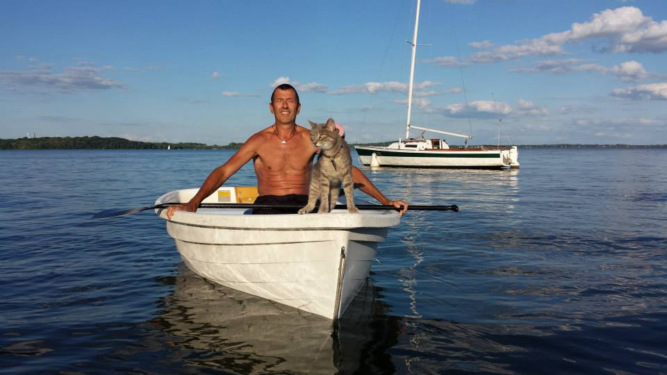 Bug the cat on a smaller boat