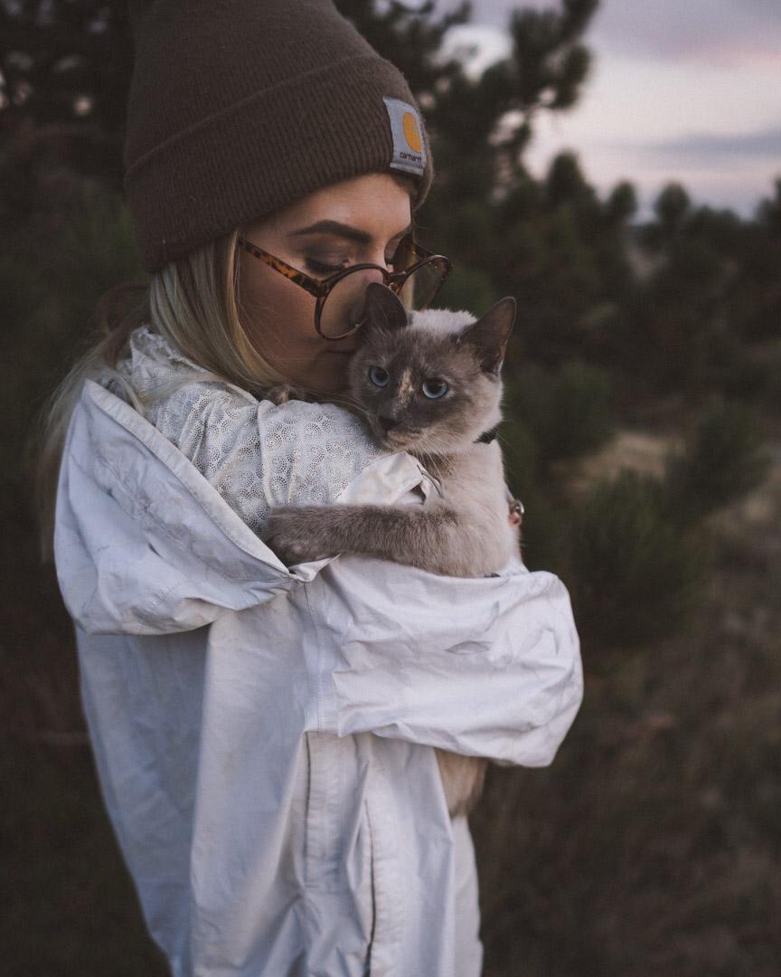 Alexis Hinkley snuggling cat Tuna