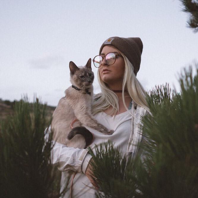 Alexis Hinkley and adventure cat Tuna