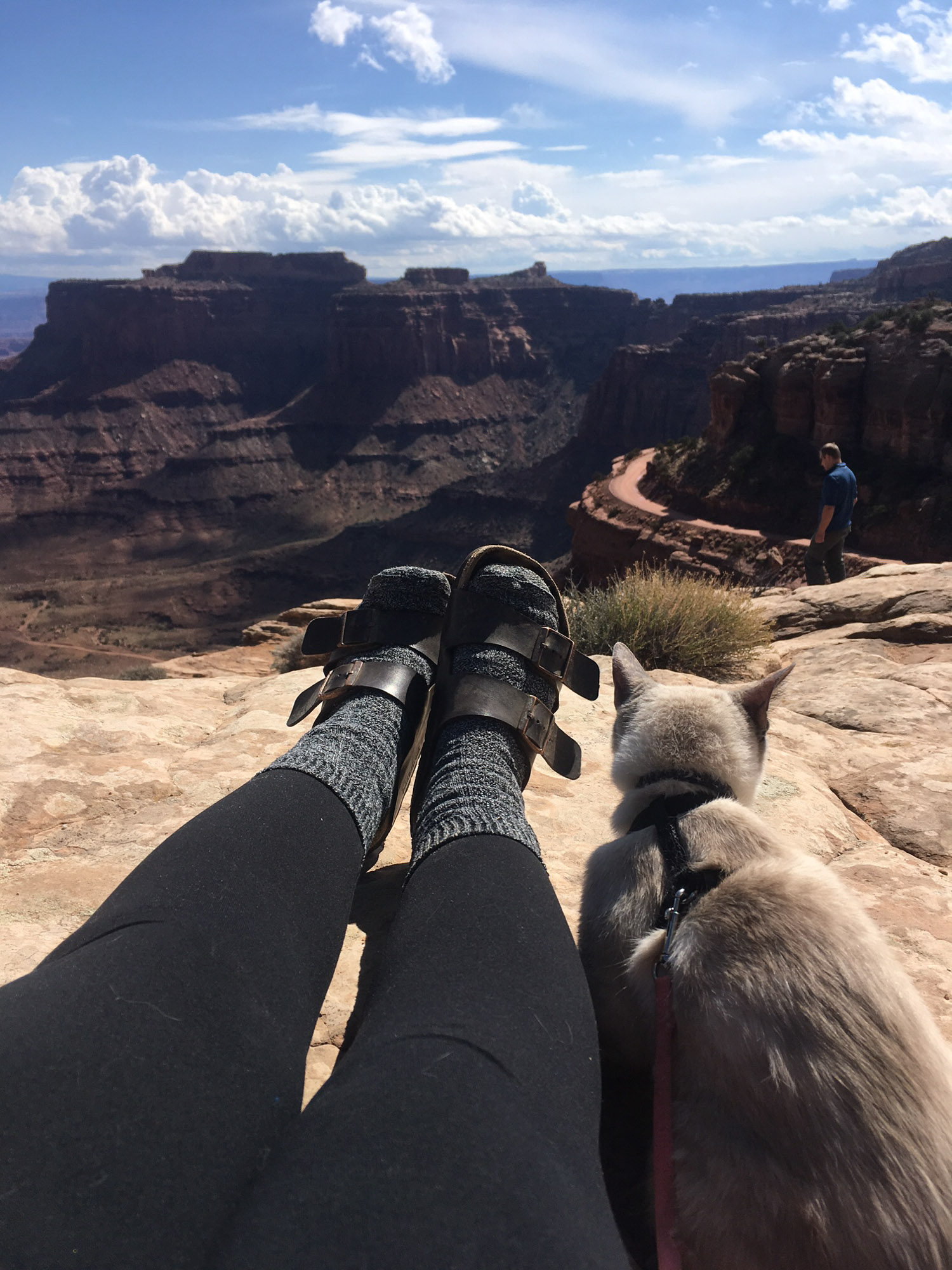 Alexis and her cat in national park