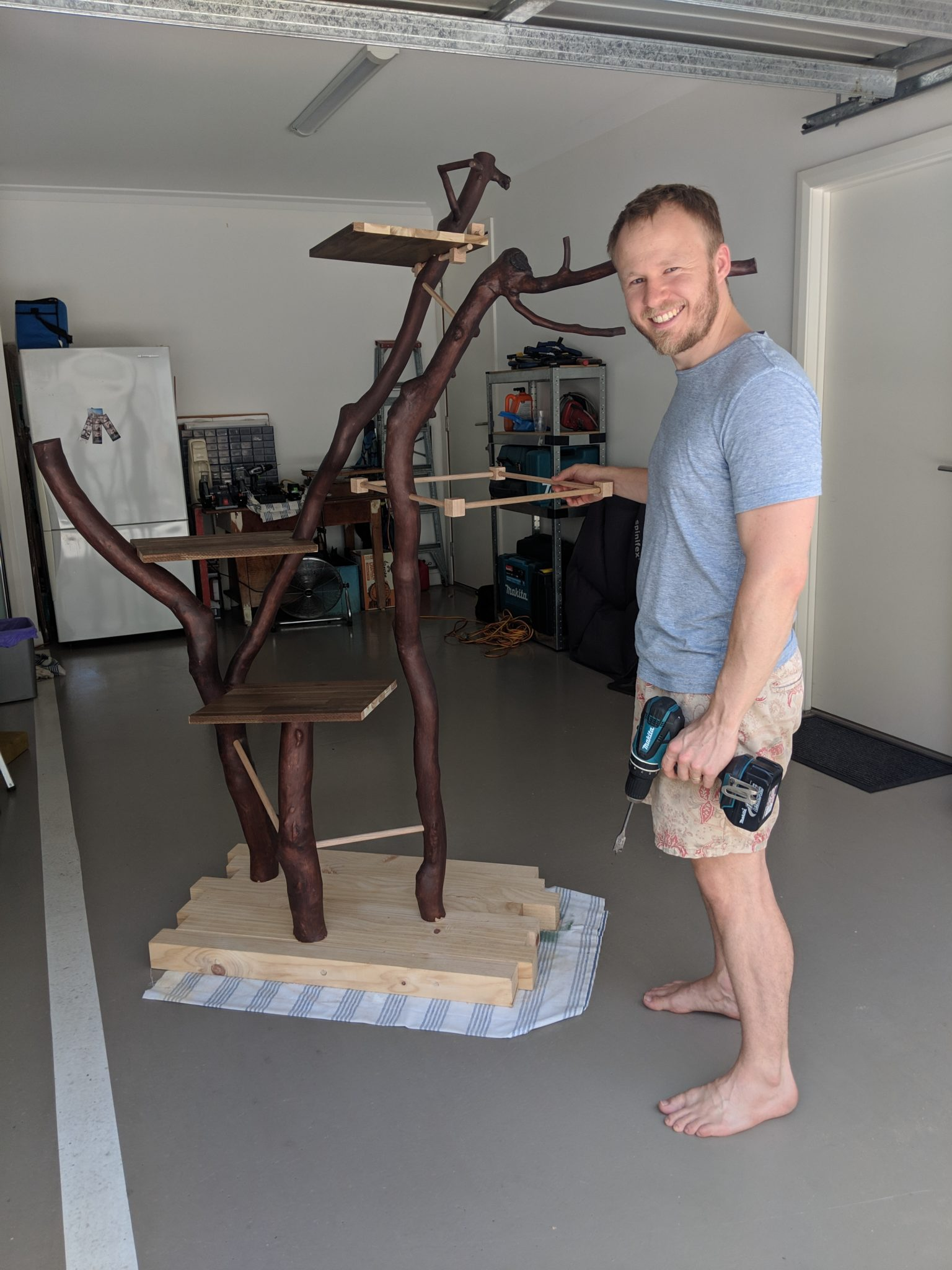 Martin Henrion constructs a gorgeous homemade cat tree with found materials