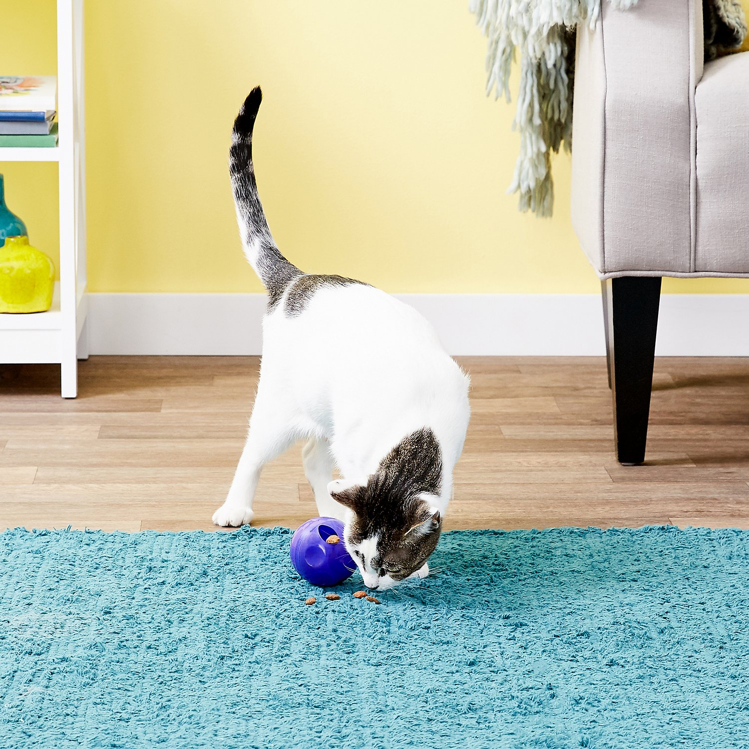 cat playing with KONG Active Treat Ball Cat Toy